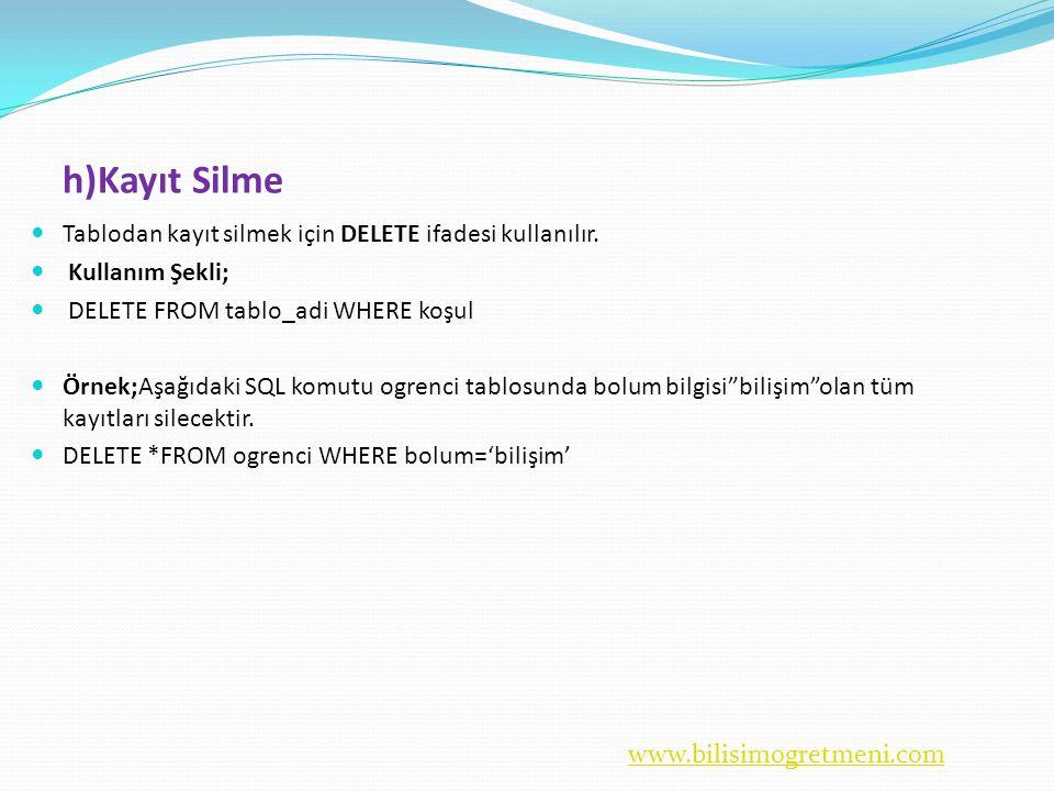 www.bilisimogretmeni.com h)Kayıt Silme  Tablodan kayıt silmek için DELETE ifadesi kullanılır.