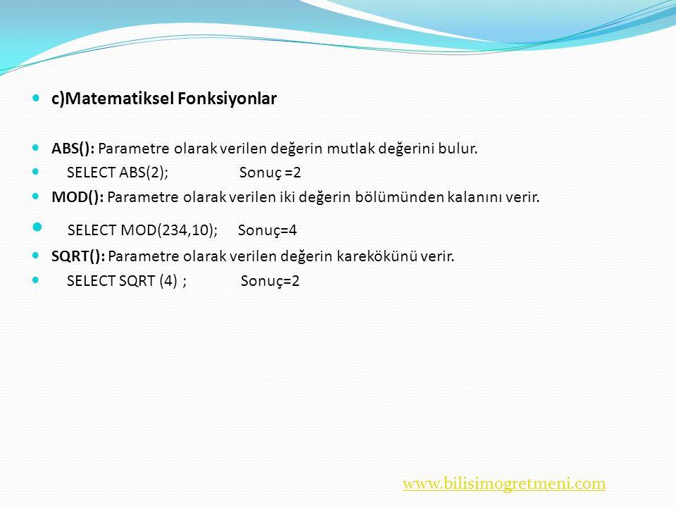 www.bilisimogretmeni.com  c)Matematiksel Fonksiyonlar  ABS(): Parametre olarak verilen değerin mutlak değerini bulur.
