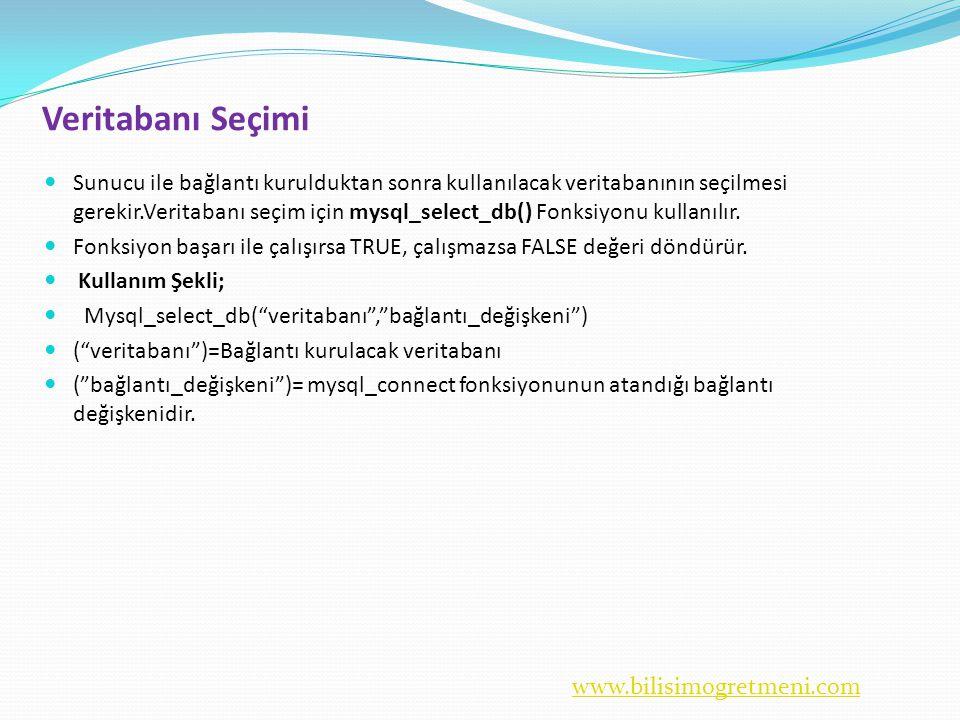 www.bilisimogretmeni.com Veritabanı Seçimi  Sunucu ile bağlantı kurulduktan sonra kullanılacak veritabanının seçilmesi gerekir.Veritabanı seçim için mysql_select_db() Fonksiyonu kullanılır.