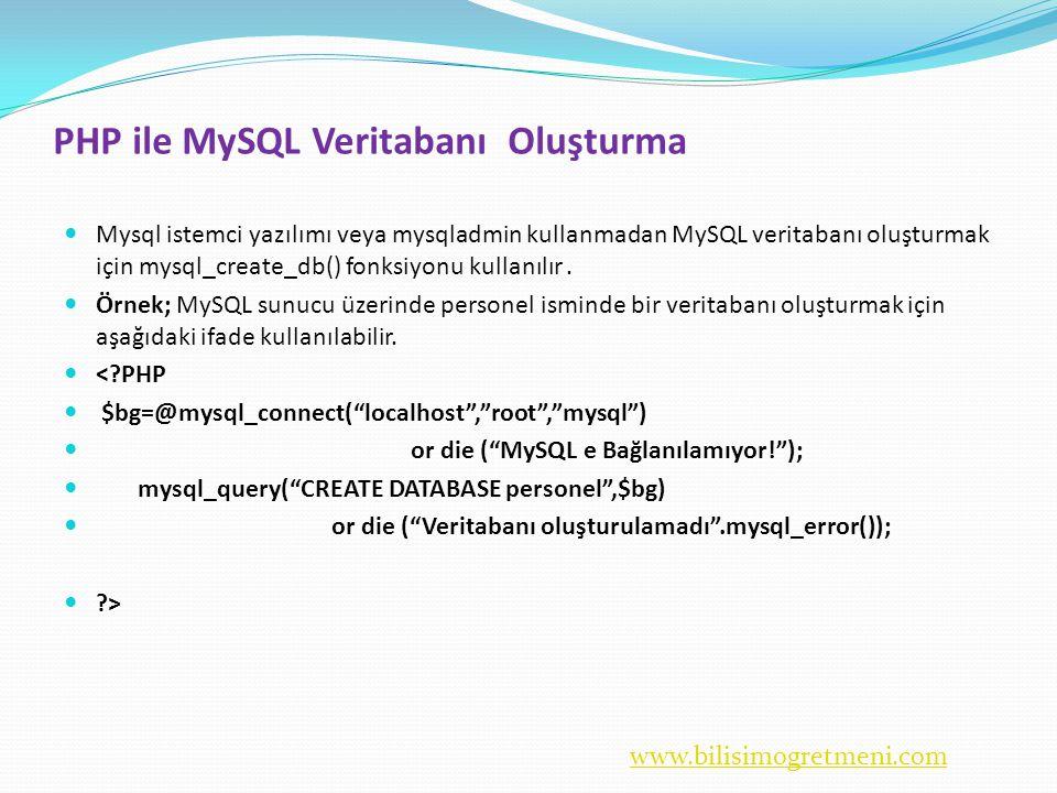 www.bilisimogretmeni.com PHP ile MySQL Veritabanı Oluşturma  Mysql istemci yazılımı veya mysqladmin kullanmadan MySQL veritabanı oluşturmak için mysql_create_db() fonksiyonu kullanılır.
