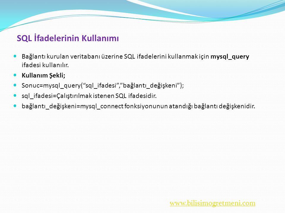 www.bilisimogretmeni.com SQL İfadelerinin Kullanımı  Bağlantı kurulan veritabanı üzerine SQL ifadelerini kullanmak için mysql_query ifadesi kullanılır.