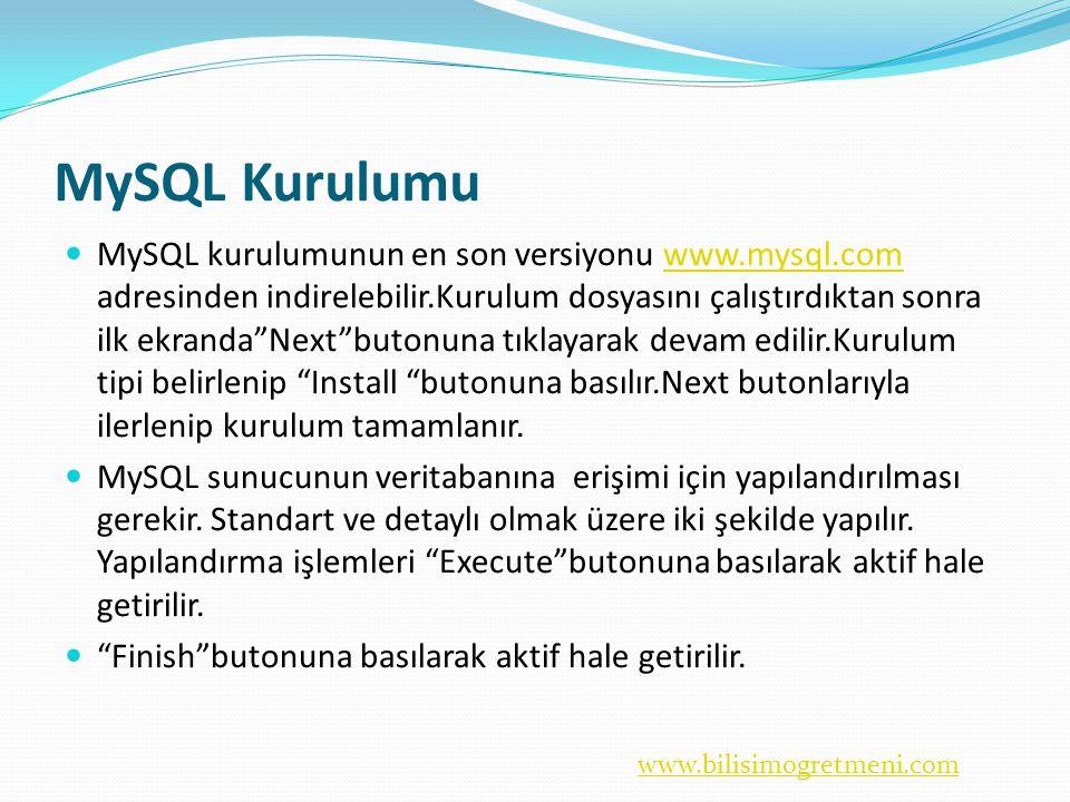 www.bilisimogretmeni.com MySQL Kurulumu  MySQL kurulumunun en son versiyonu www.mysql.com adresinden indirelebilir.Kurulum dosyasını çalıştırdıktan sonra ilk ekranda Next butonuna tıklayarak devam edilir.Kurulum tipi belirlenip Install butonuna basılır.Next butonlarıyla ilerlenip kurulum tamamlanır.www.mysql.com  MySQL sunucunun veritabanına erişimi için yapılandırılması gerekir.