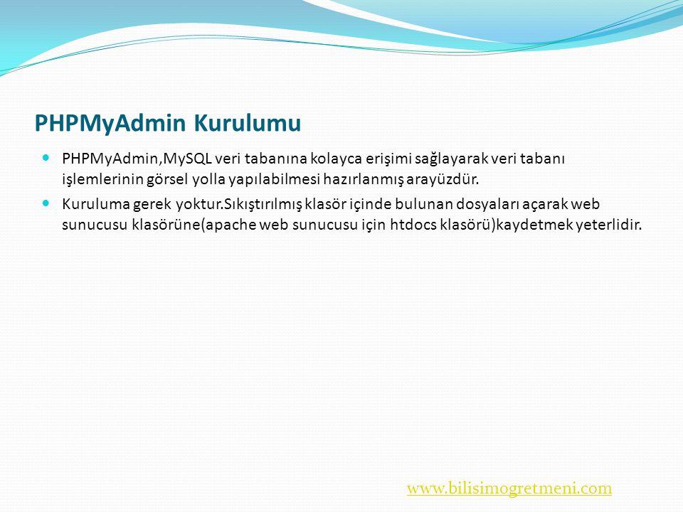 www.bilisimogretmeni.com PHPMyAdmin Kurulumu  PHPMyAdmin,MySQL veri tabanına kolayca erişimi sağlayarak veri tabanı işlemlerinin görsel yolla yapılabilmesi hazırlanmış arayüzdür.