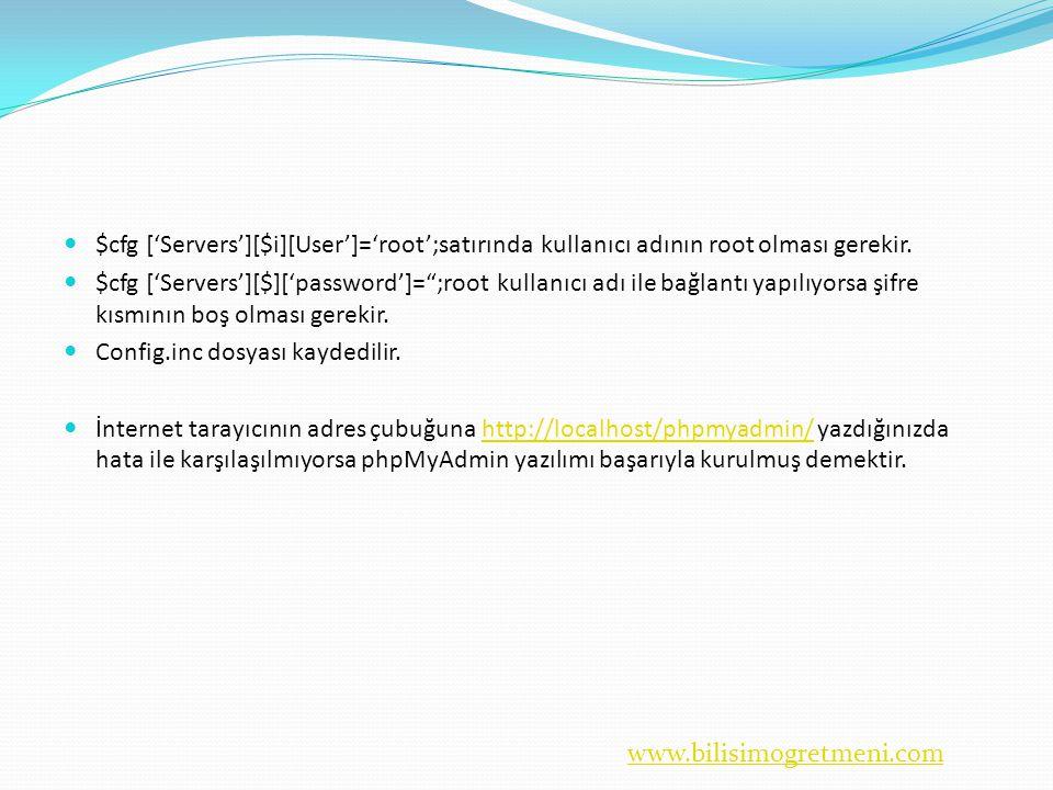 www.bilisimogretmeni.com  $cfg ['Servers'][$i][User']='root';satırında kullanıcı adının root olması gerekir.