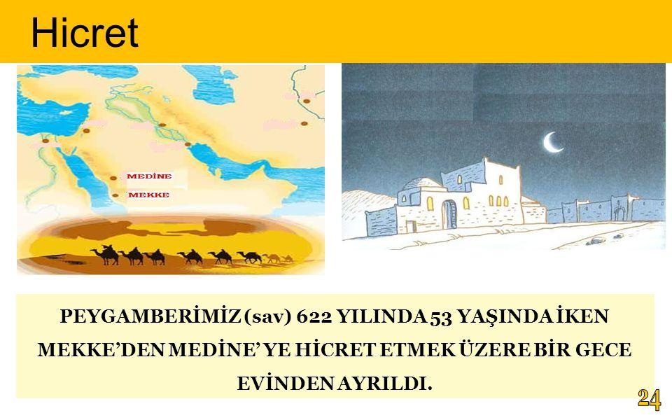 PEYGAMBERİMİZ (sav) 622 YILINDA 53 YAŞINDA İKEN MEKKE'DEN MEDİNE' YE HİCRET ETMEK ÜZERE BİR GECE EVİNDEN AYRILDI.