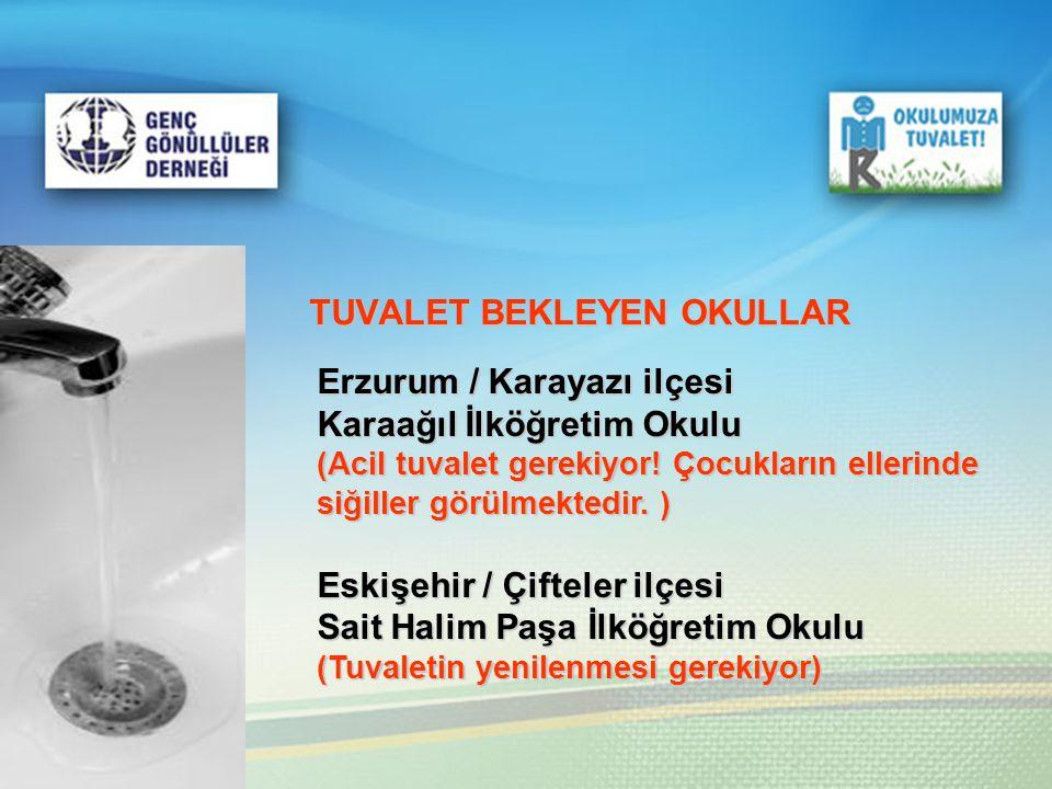 TUVALET BEKLEYEN OKULLAR Erzurum / Karayazı ilçesi Karaağıl İlköğretim Okulu (Acil tuvalet gerekiyor! Çocukların ellerinde siğiller görülmektedir. ) E