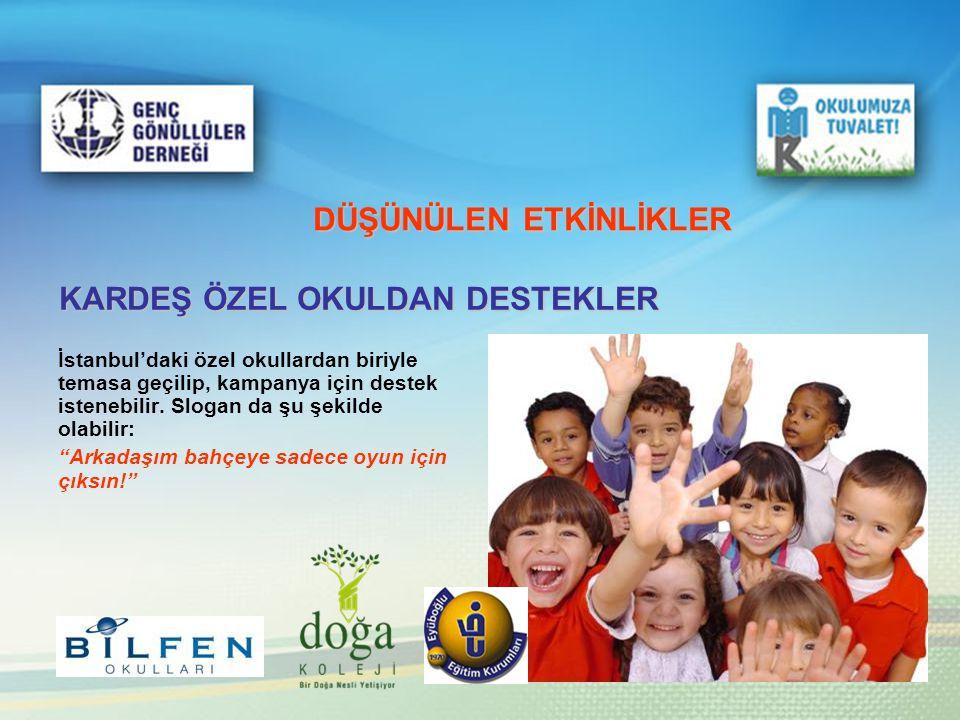DÜŞÜNÜLEN ETKİNLİKLER KARDEŞ ÖZEL OKULDAN DESTEKLER İstanbul'daki özel okullardan biriyle temasa geçilip, kampanya için destek istenebilir. Slogan da