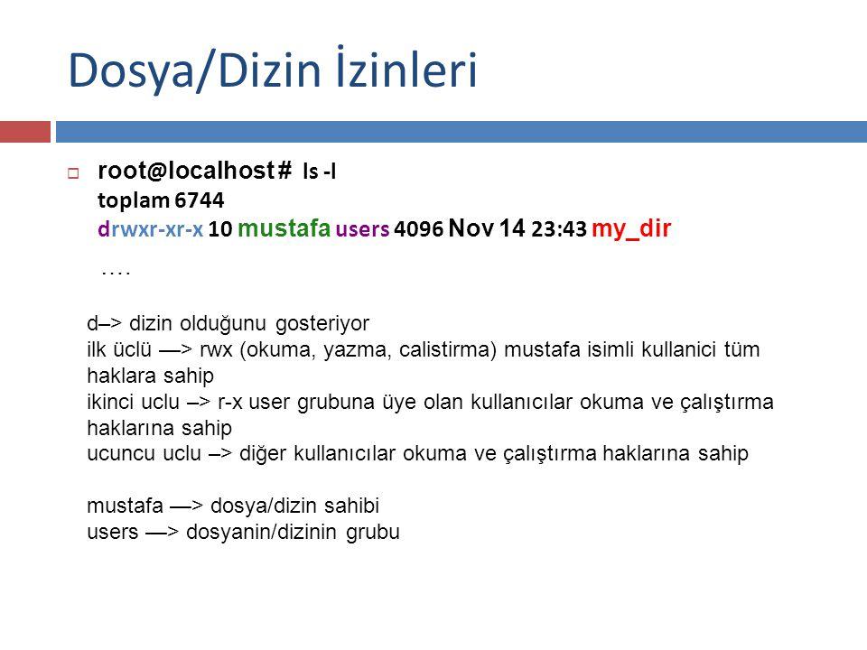 Dosya/Dizin İzinleri  root @ localhost # ls -l toplam 6744 drwxr-xr-x 10 mustafa users 4096 Nov 14 23:43 my_dir ….