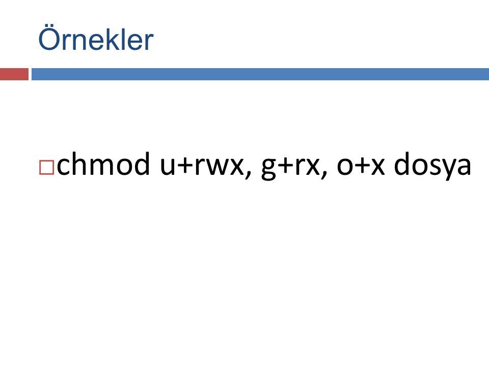  chmod u+rwx, g+rx, o+x dosya Örnekler