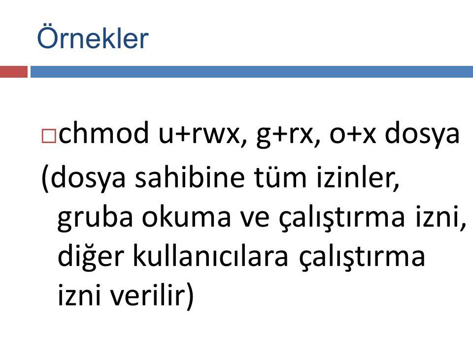  chmod u+rwx, g+rx, o+x dosya (dosya sahibine tüm izinler, gruba okuma ve çalıştırma izni, diğer kullanıcılara çalıştırma izni verilir) Örnekler
