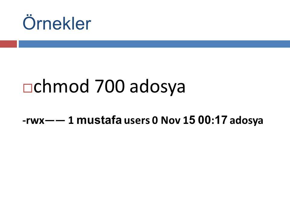 Örnekler  chmod 700 adosya -rwx—— 1 mustafa users 0 Nov 1 5 00 : 17 adosya