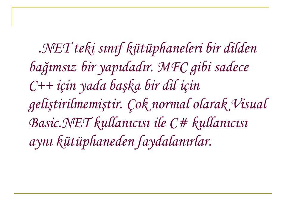.NET teki sınıf kütüphaneleri bir dilden bağımsız bir yapıdadır.