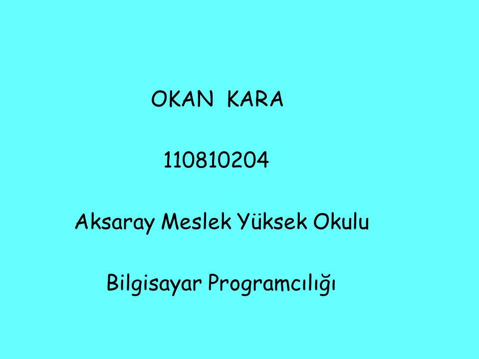 OKAN KARA 110810204 Aksaray Meslek Yüksek Okulu Bilgisayar Programcılığı