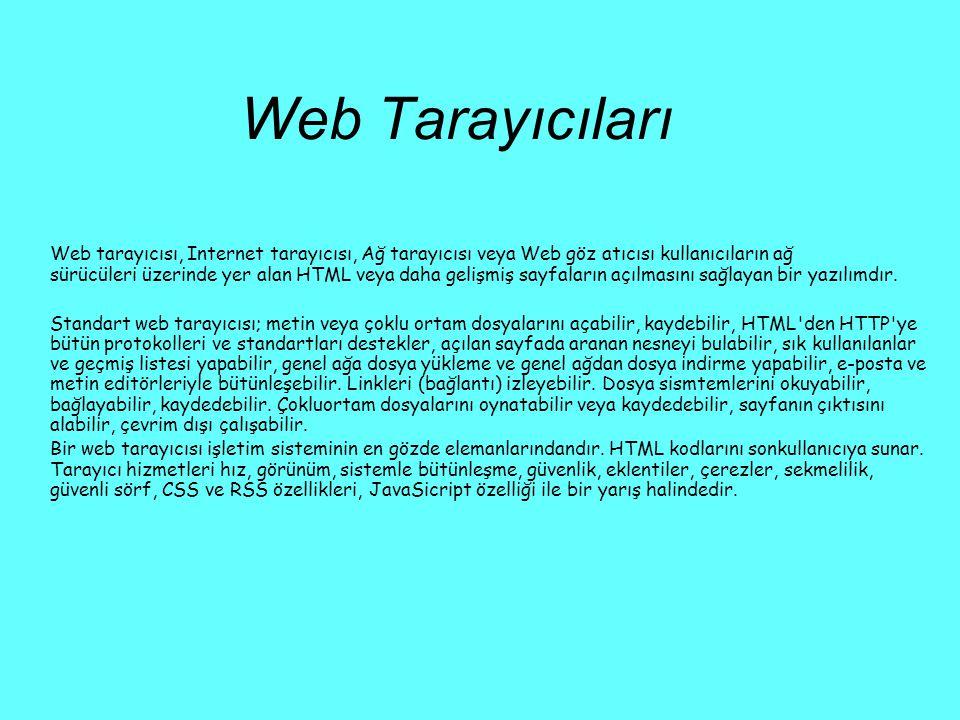 Web Tarayıcıları Web tarayıcısı, Internet tarayıcısı, Ağ tarayıcısı veya Web göz atıcısı kullanıcıların ağ sürücüleri üzerinde yer alan HTML veya daha
