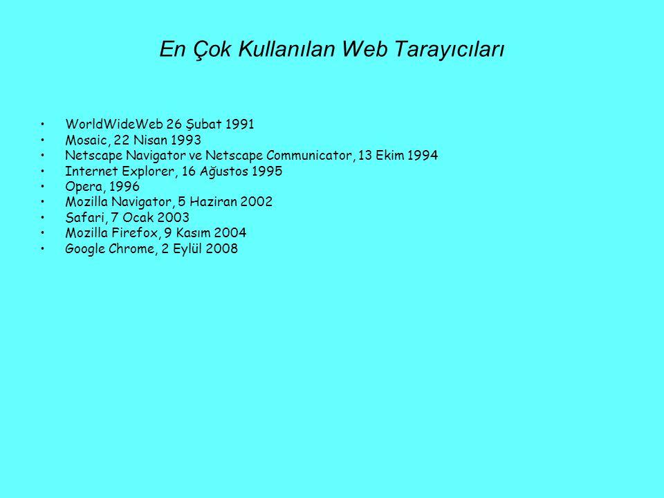 En Çok Kullanılan Web Tarayıcıları •WorldWideWeb 26 Şubat 1991 •Mosaic, 22 Nisan 1993 •Netscape Navigator ve Netscape Communicator, 13 Ekim 1994 •Inte