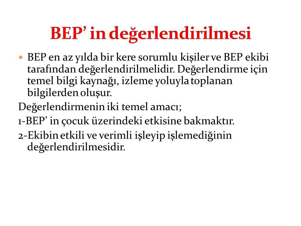  BEP en az yılda bir kere sorumlu kişiler ve BEP ekibi tarafından değerlendirilmelidir. Değerlendirme için temel bilgi kaynağı, izleme yoluyla toplan