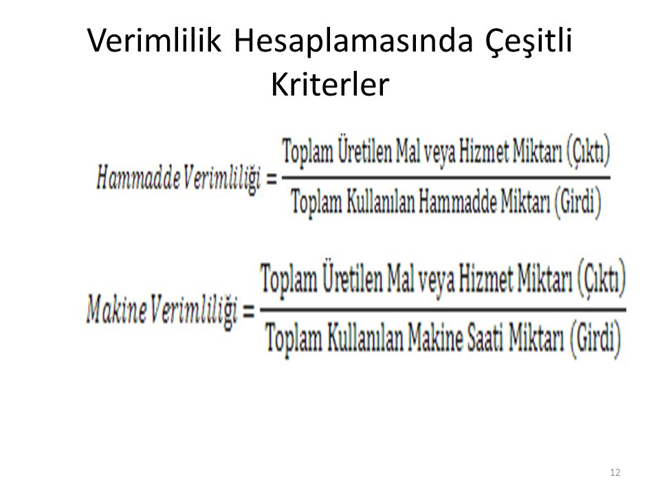 Verimlilik Hesaplamasında Çeşitli Kriterler 12