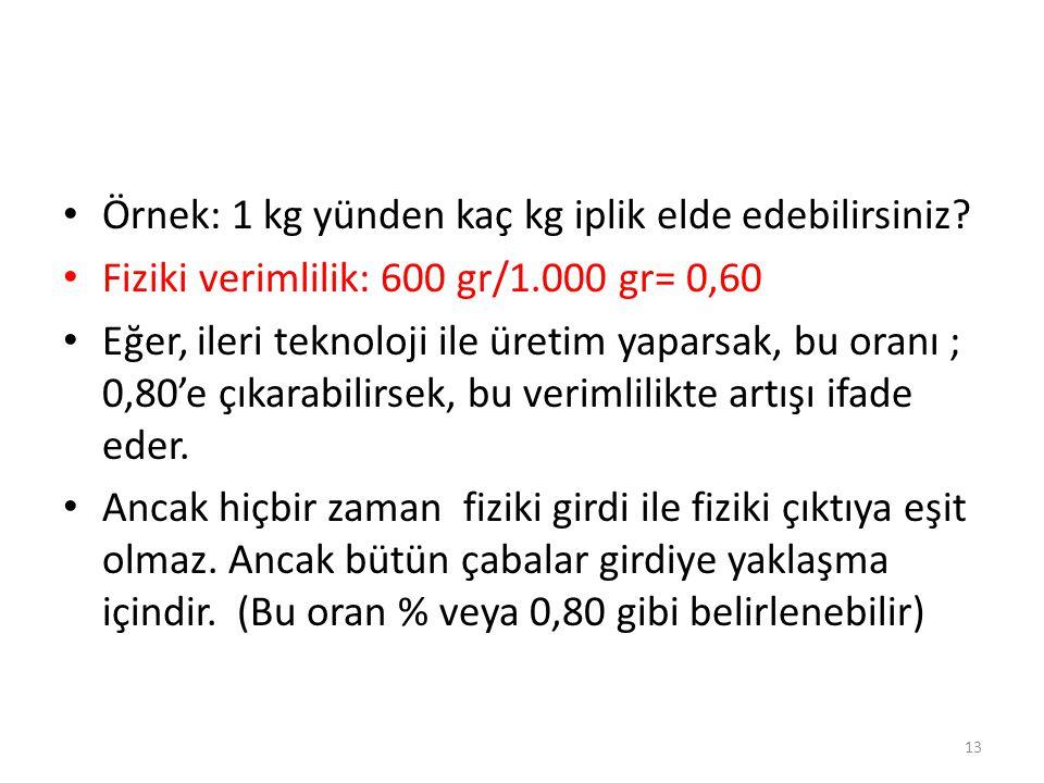 • Örnek: 1 kg yünden kaç kg iplik elde edebilirsiniz? • Fiziki verimlilik: 600 gr/1.000 gr= 0,60 • Eğer, ileri teknoloji ile üretim yaparsak, bu oranı