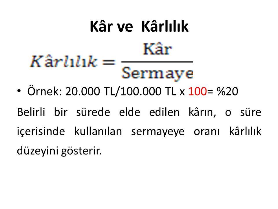 Kâr ve Kârlılık • Örnek: 20.000 TL/100.000 TL x 100= %20 Belirli bir sürede elde edilen kârın, o süre içerisinde kullanılan sermayeye oranı kârlılık d