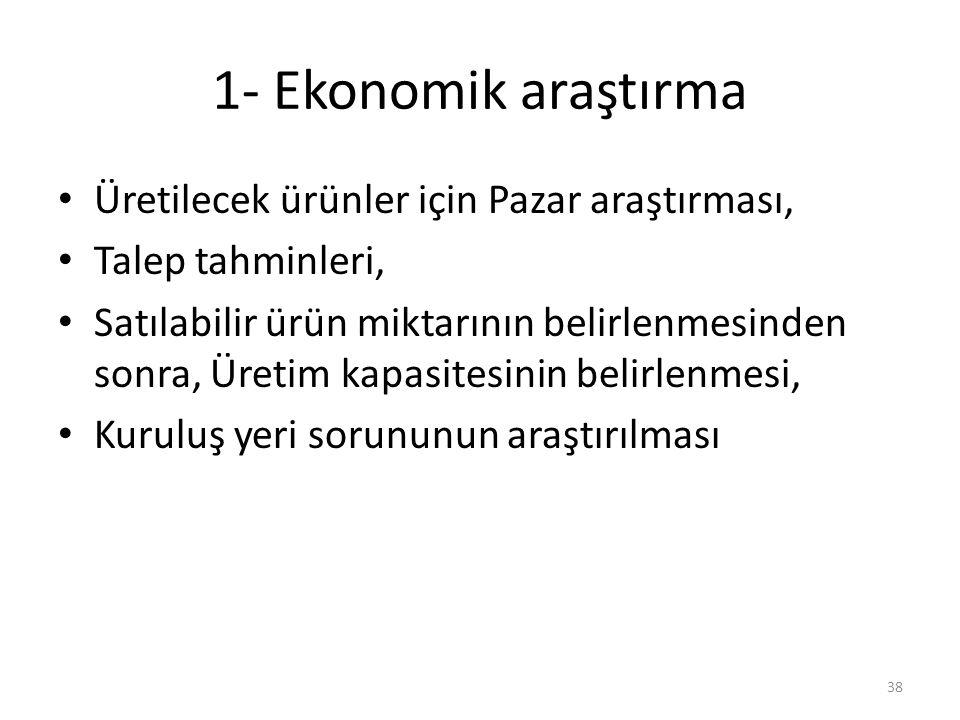 1- Ekonomik araştırma • Üretilecek ürünler için Pazar araştırması, • Talep tahminleri, • Satılabilir ürün miktarının belirlenmesinden sonra, Üretim ka