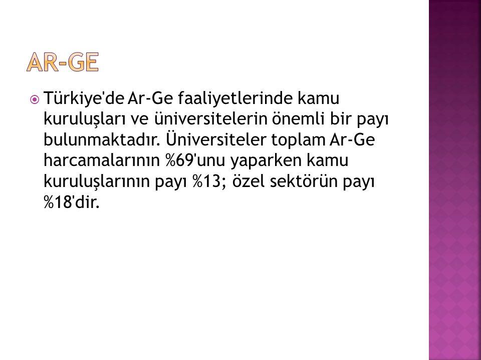  Türkiye de Ar-Ge faaliyetlerinde kamu kuruluşları ve üniversitelerin önemli bir payı bulunmaktadır.