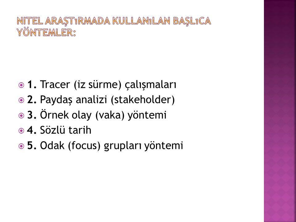  1.Tracer (iz sürme) çalışmaları  2. Paydaş analizi (stakeholder)  3.