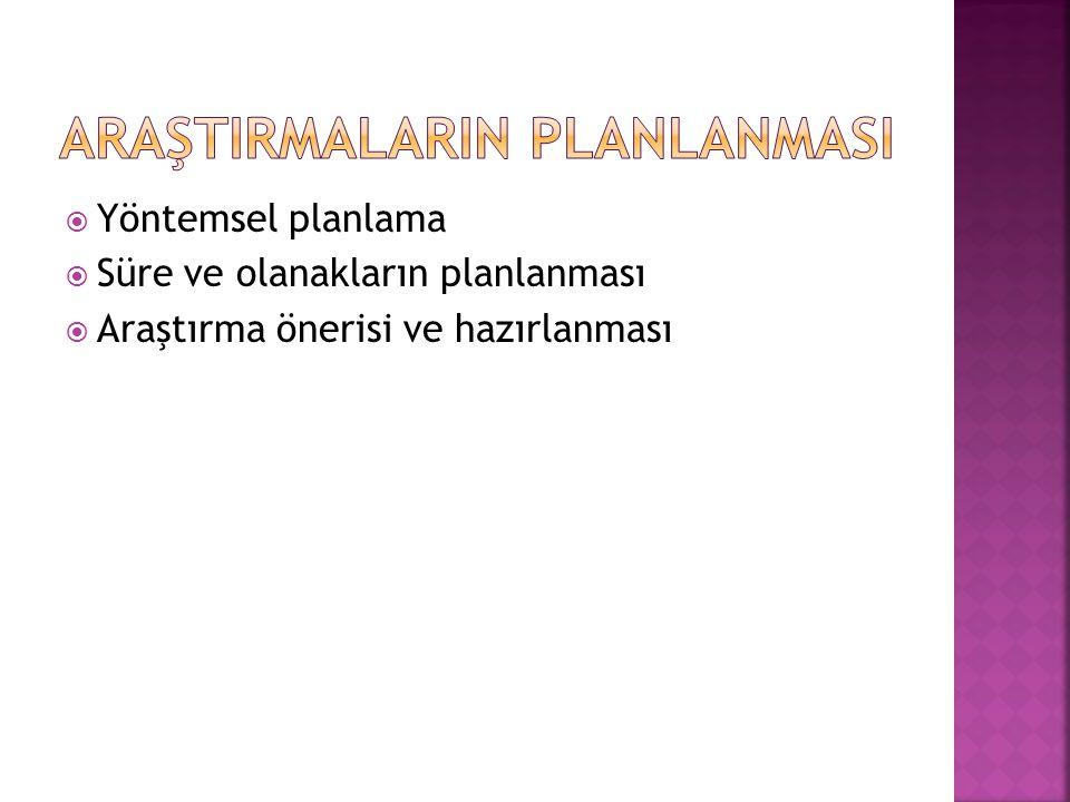  Yöntemsel planlama  Süre ve olanakların planlanması  Araştırma önerisi ve hazırlanması
