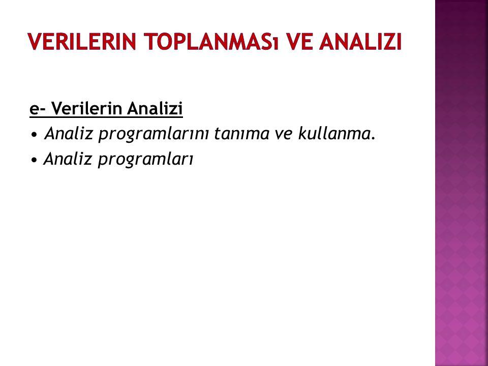 e- Verilerin Analizi • Analiz programlarını tanıma ve kullanma. • Analiz programları
