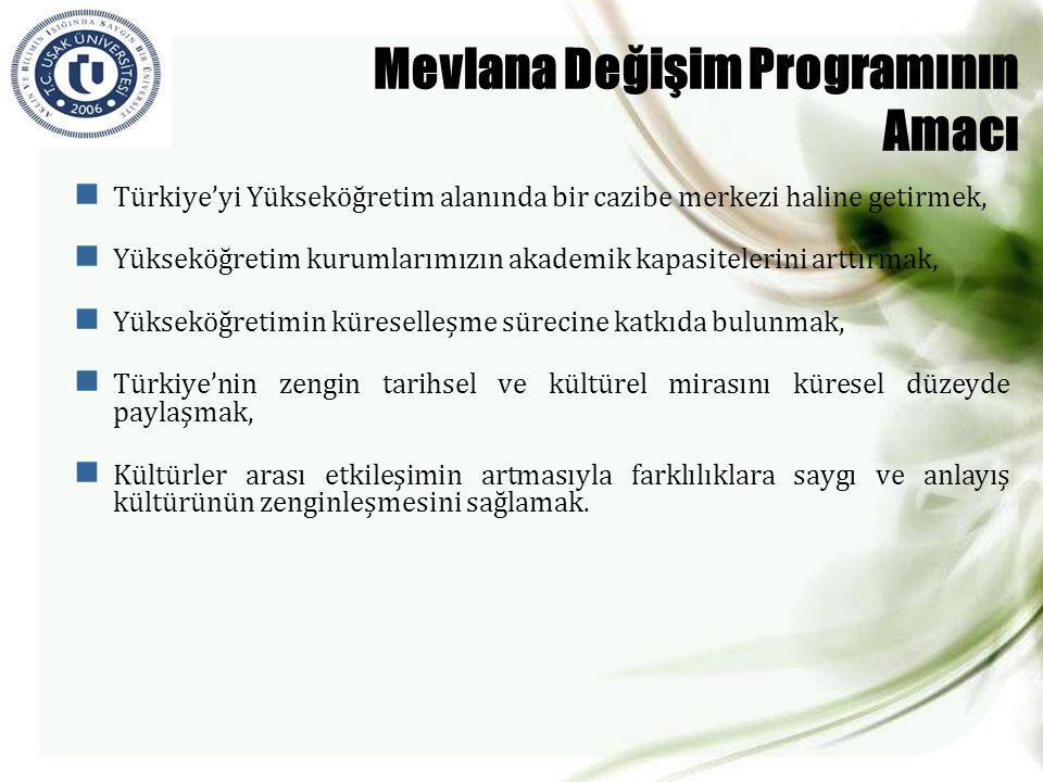 Mevlana Değişim Programının Amacı  Türkiye'yi Yükseköğretim alanında bir cazibe merkezi haline getirmek,  Yükseköğretim kurumlarımızın akademik kapa