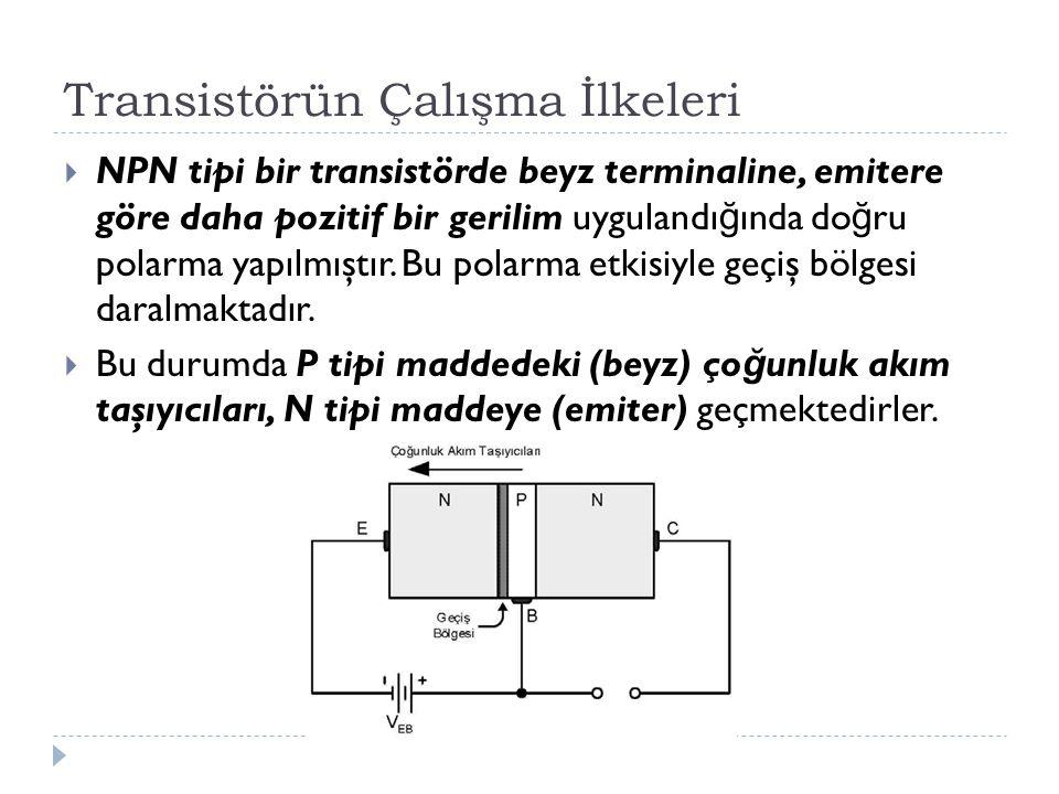 Transistörün Çalışma İlkeleri  NPN tipi bir transistörde beyz terminaline, emitere göre daha pozitif bir gerilim uygulandı ğ ında do ğ ru polarma yap
