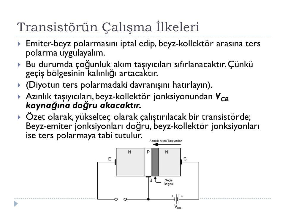 Transistörün Çalışma İlkeleri  Emiter-beyz polarmasını iptal edip, beyz-kollektör arasına ters polarma uygulayalım.  Bu durumda ço ğ unluk akım taşı