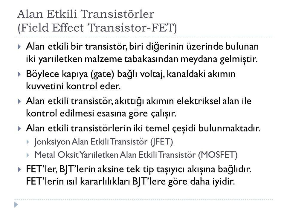 Alan Etkili Transistörler (Field Effect Transistor-FET)  Alan etkili bir transistör, biri di ğ erinin üzerinde bulunan iki yarıiletken malzeme tabaka