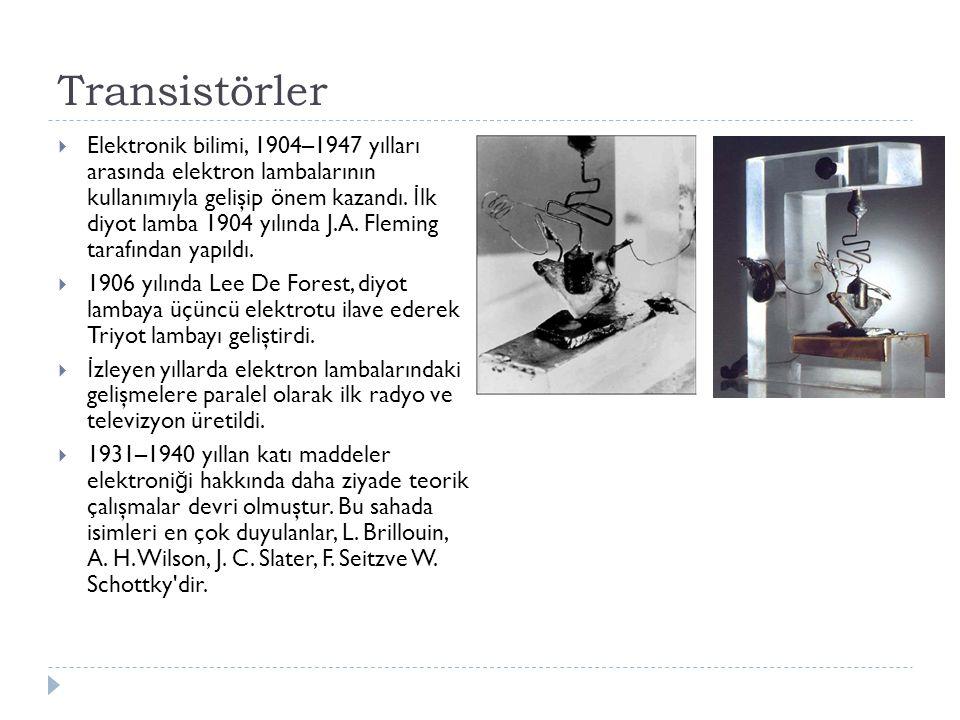 Transistörler  Elektronik bilimi, 1904–1947 yılları arasında elektron lambalarının kullanımıyla gelişip önem kazandı. İ lk diyot lamba 1904 yılında J