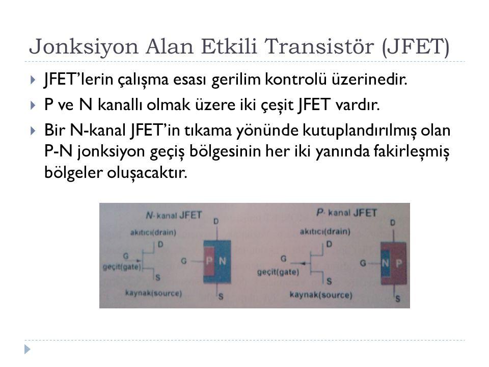 Jonksiyon Alan Etkili Transistör (JFET)  JFET'lerin çalışma esası gerilim kontrolü üzerinedir.  P ve N kanallı olmak üzere iki çeşit JFET vardır. 