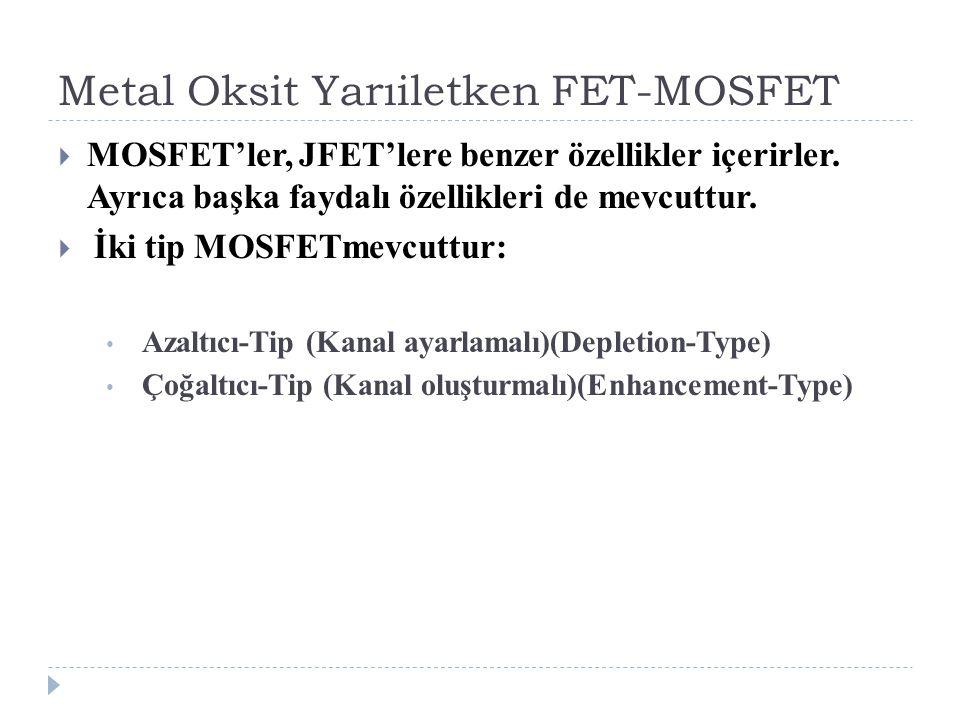 Metal Oksit Yarıiletken FET-MOSFET  MOSFET'ler, JFET'lere benzer özellikler içerirler. Ayrıca başka faydalı özellikleri de mevcuttur.  İki tip MOSFE