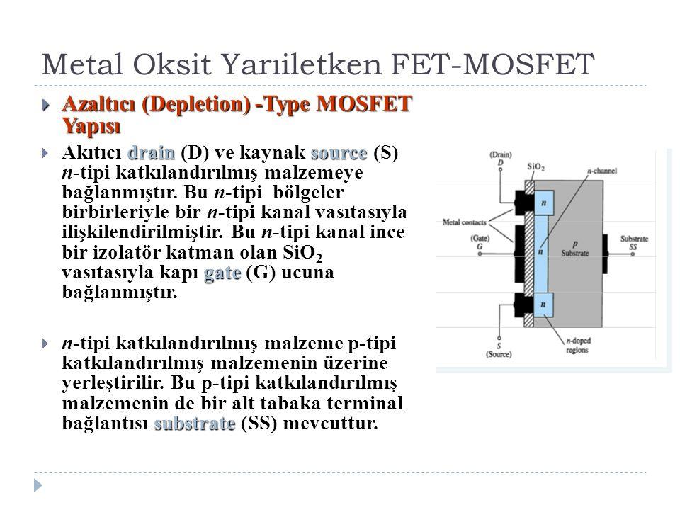 Metal Oksit Yarıiletken FET-MOSFET  Azaltıcı (Depletion) -Type MOSFET Yapısı drainsource gate  Akıtıcı drain (D) ve kaynak source (S) n-tipi katkıla
