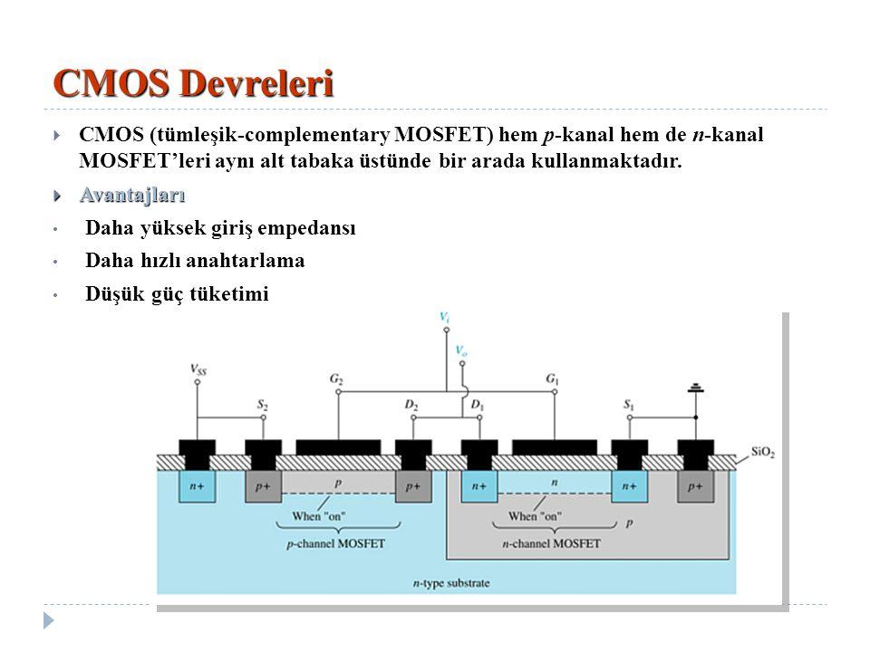 CMOS Devreleri  CMOS (tümleşik-complementary MOSFET) hem p-kanal hem de n-kanal MOSFET'leri aynı alt tabaka üstünde bir arada kullanmaktadır.  Avant