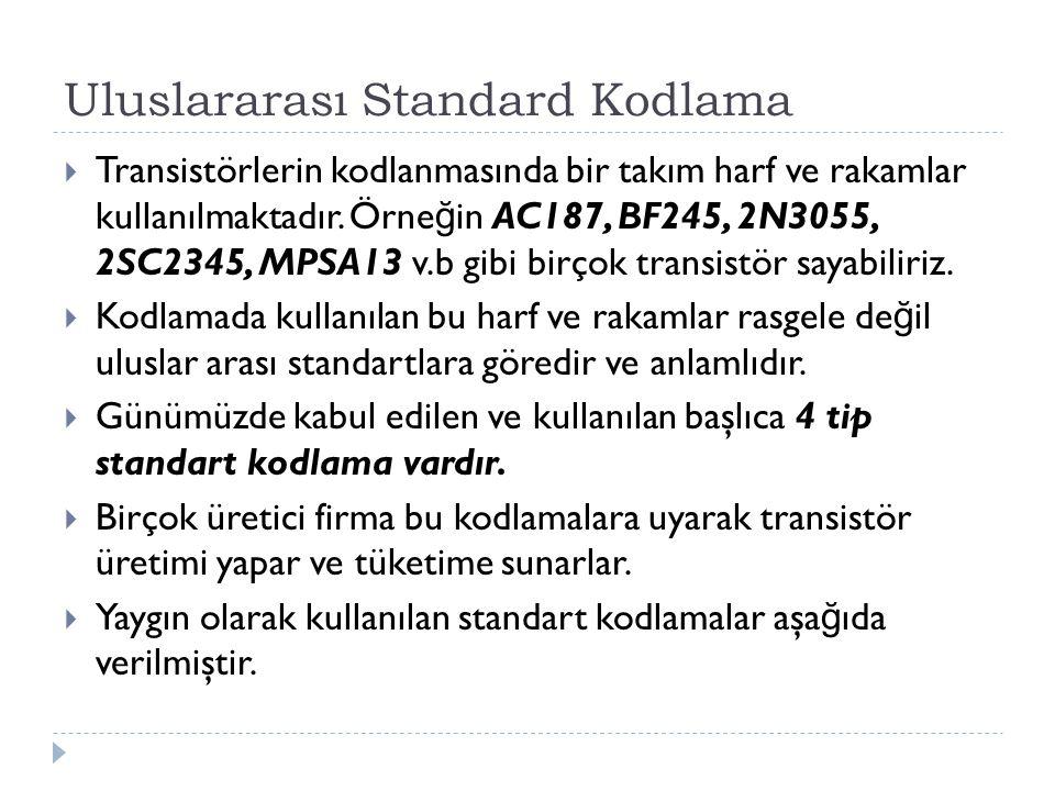 Uluslararası Standard Kodlama  Transistörlerin kodlanmasında bir takım harf ve rakamlar kullanılmaktadır. Örne ğ in AC187, BF245, 2N3055, 2SC2345, MP