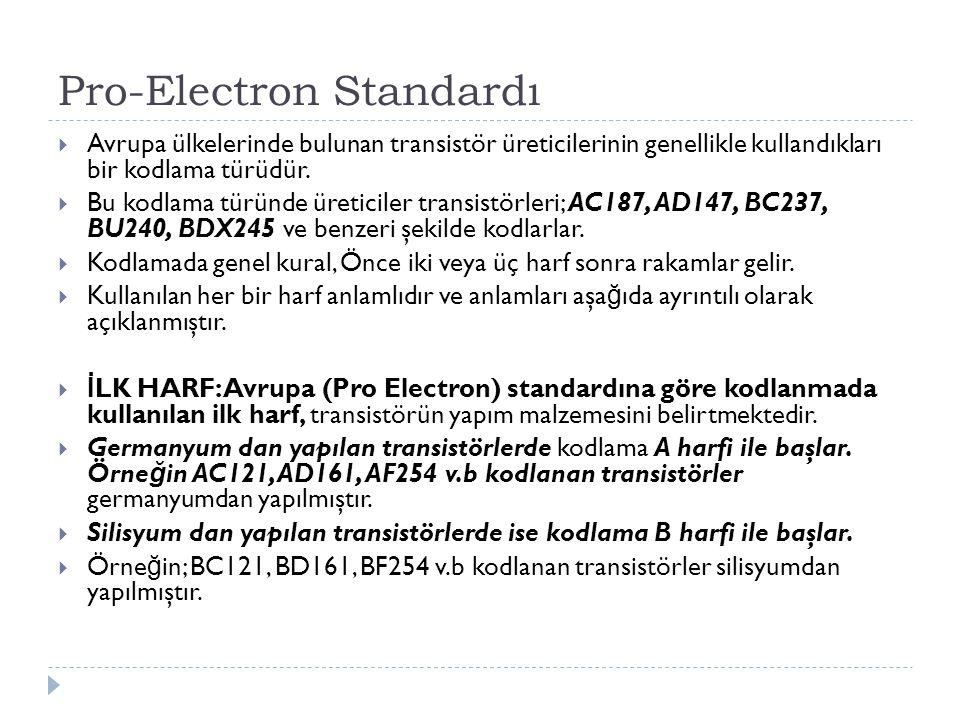 Pro-Electron Standardı  Avrupa ülkelerinde bulunan transistör üreticilerinin genellikle kullandıkları bir kodlama türüdür.  Bu kodlama türünde üreti