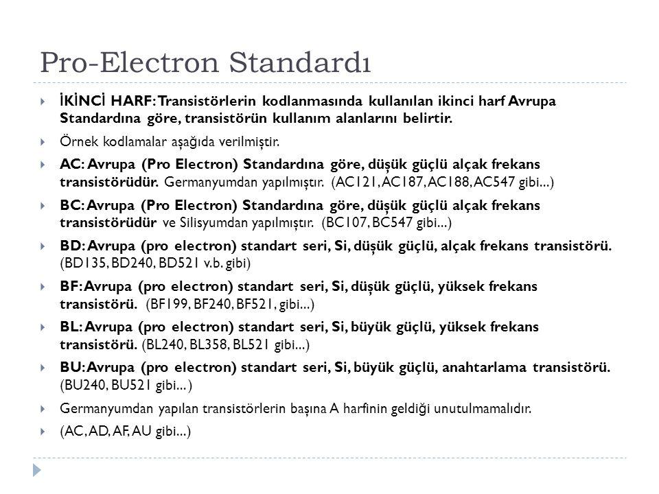 Pro-Electron Standardı  İ K İ NC İ HARF: Transistörlerin kodlanmasında kullanılan ikinci harf Avrupa Standardına göre, transistörün kullanım alanları