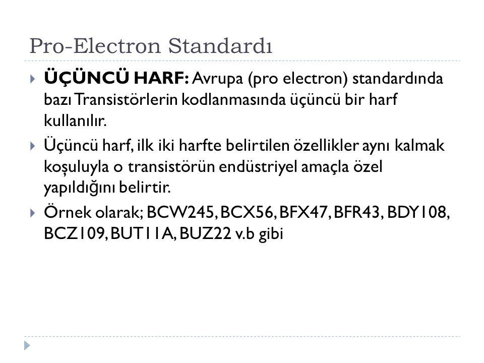 Pro-Electron Standardı  ÜÇÜNCÜ HARF: Avrupa (pro electron) standardında bazı Transistörlerin kodlanmasında üçüncü bir harf kullanılır.  Üçüncü harf,