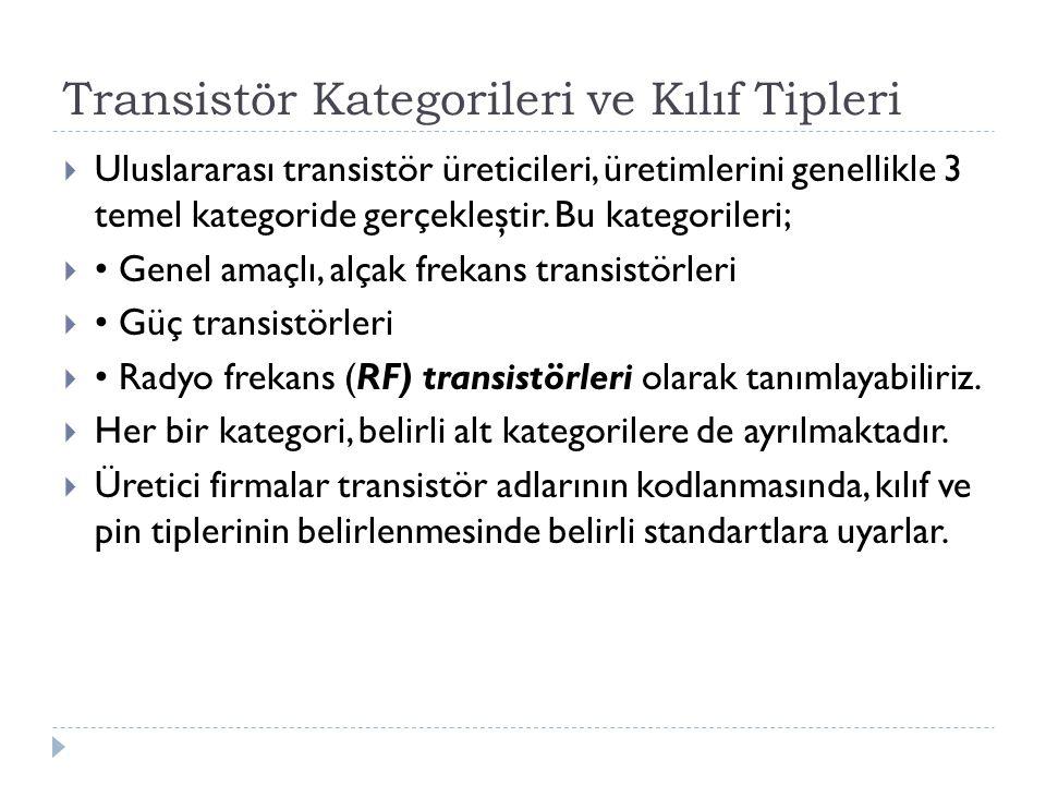 Transistör Kategorileri ve Kılıf Tipleri  Uluslararası transistör üreticileri, üretimlerini genellikle 3 temel kategoride gerçekleştir. Bu kategorile