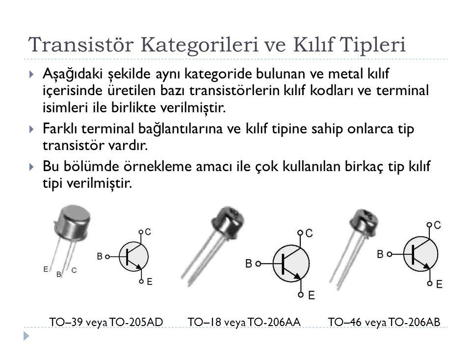 Transistör Kategorileri ve Kılıf Tipleri  Aşa ğ ıdaki şekilde aynı kategoride bulunan ve metal kılıf içerisinde üretilen bazı transistörlerin kılıf k