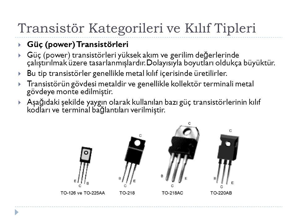 Transistör Kategorileri ve Kılıf Tipleri  Güç (power) Transistörleri  Güç (power) transistörleri yüksek akım ve gerilim de ğ erlerinde çalıştırılmak