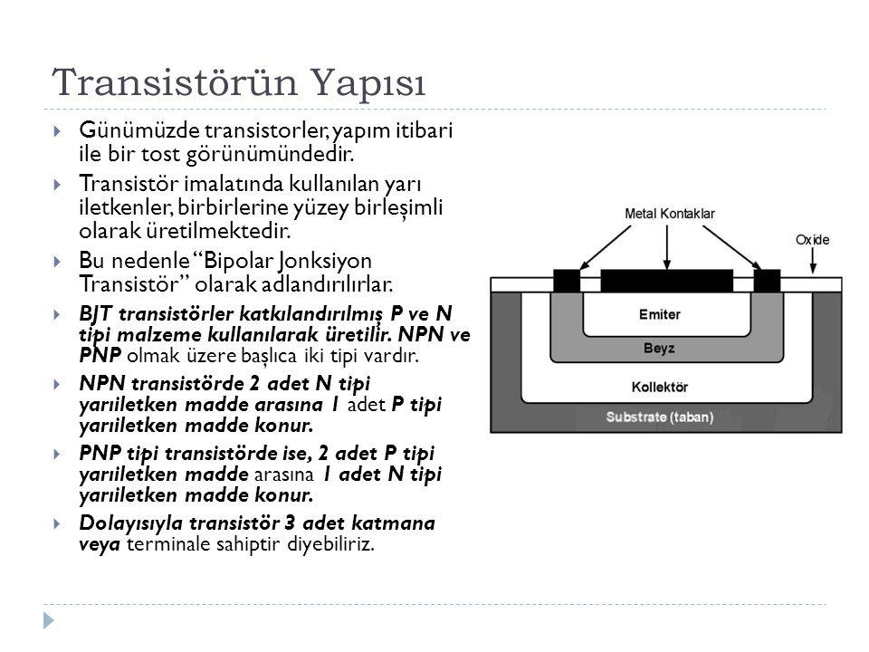 Transistörün Yapısı  Günümüzde transistorler, yapım itibari ile bir tost görünümündedir.  Transistör imalatında kullanılan yarı iletkenler, birbirle