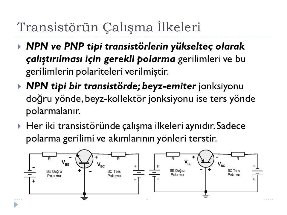 Transistörün Çalışma İlkeleri  NPN ve PNP tipi transistörlerin yükselteç olarak çalıştırılması için gerekli polarma gerilimleri ve bu gerilimlerin po