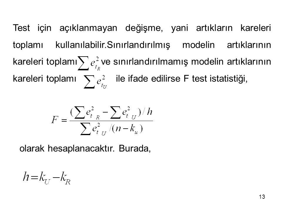Test için açıklanmayan değişme, yani artıkların kareleri toplamı kullanılabilir.Sınırlandırılmış modelin artıklarının kareleri toplamı ve sınırlandırılmamış modelin artıklarının kareleri toplamı ile ifade edilirse F test istatistiği, olarak hesaplanacaktır.
