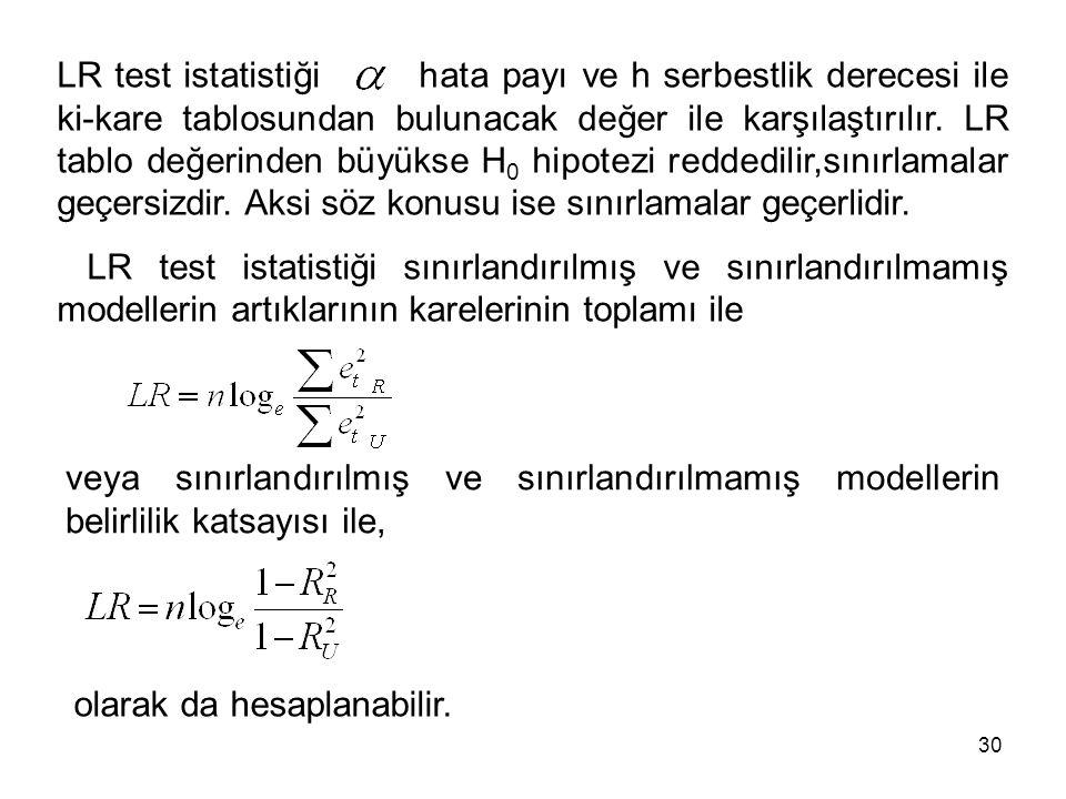 LR test istatistiği hata payı ve h serbestlik derecesi ile ki-kare tablosundan bulunacak değer ile karşılaştırılır. LR tablo değerinden büyükse H 0 hi