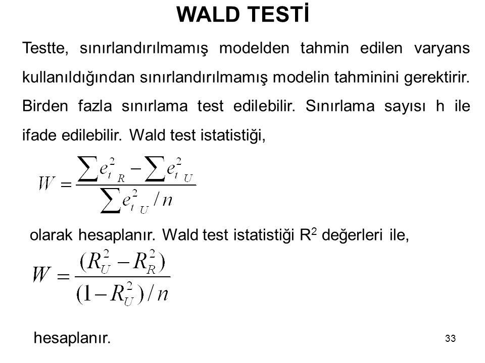 WALD TESTİ Testte, sınırlandırılmamış modelden tahmin edilen varyans kullanıldığından sınırlandırılmamış modelin tahminini gerektirir.