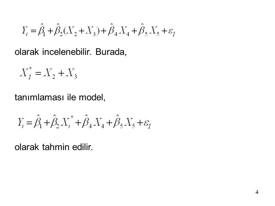 tanımlaması ile model, olarak tahmin edilir. olarak incelenebilir. Burada, 4